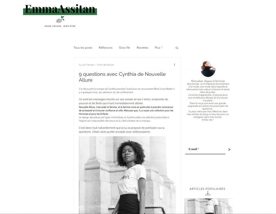 Article Blog Emmeassitan pour Cynthia Nouvelle Allure